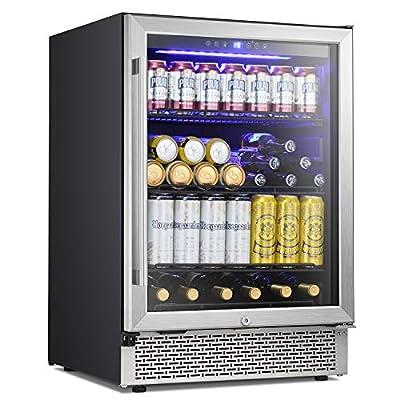 Antarctic Star 24 Inch Beverage Refrigerator Buit-in Wine Cooler Mini Fridge Clear Glass Door Digital Memory Temperature Control, Beer Soda LED Light, Quiet Operation (1 Door Single Zone)