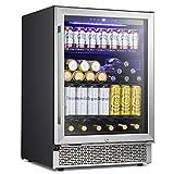 Antarctic Star 24 Inch Beverage Refrigerator Buit-in Wine Cooler Mini Fridge Clear Glass Door...