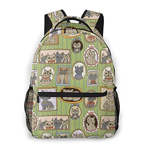 COVASA Mochila escolar de estilo informal,mochila de viaje,imágenes enmarcadas de gatos en la pared,momen,mochila grande y liviana para estudiantes,niños y adultos,para computadora portátil de 15.6 '