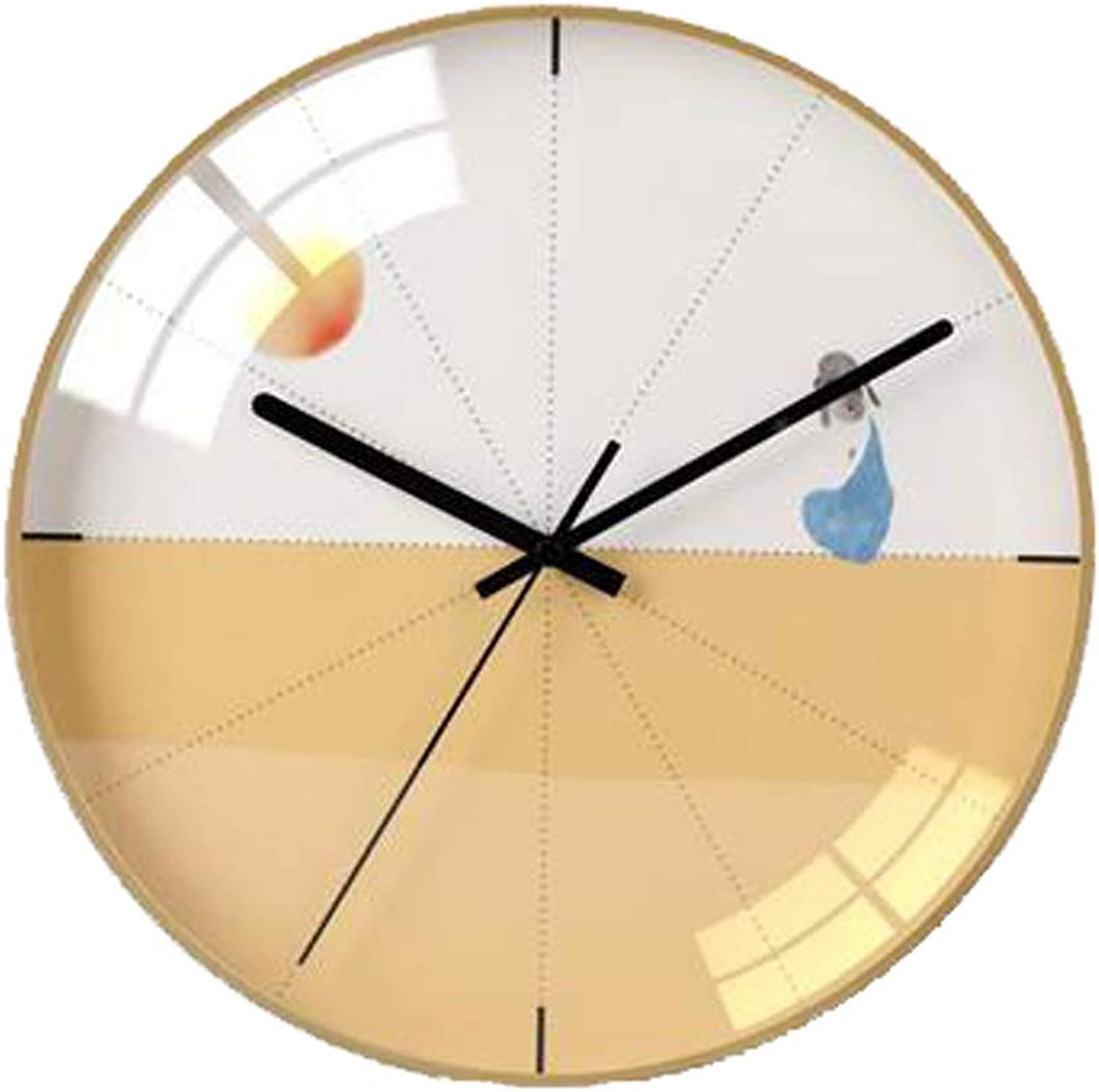 YONGMEI Wall Clock - Simple Living Room Bedroom Wall Clock Mute Personality Fashion Modern Wall Watch Wall Table Quartz Clock (color   Beige, Size   30CM)