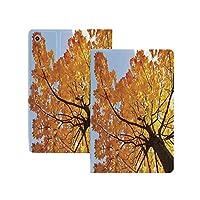 iPad Pro 12.9 ケース 2020 葉、秋から秋までのメープルツリー環境フローラシーズン11月印刷、オレンジブルー 葉 オートスリープ/ウェイク対応 [鑑賞/タイピングスタンドモード][ゴム製カバー付き柔軟性抜群TPU背面] リバウンドスリムスマートケース オレンジブルー