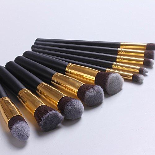 XUAN 10 brosses de maquillage noirs poignée brosse 5 gros maquillage petit 5 outils monétaires , a