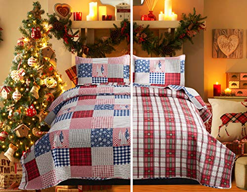 Christmas Bedding Plaid Bedspread Set King Size Patchwork Bedding Red Blue Plaid Coverlet Country Rustic Lodge Christmas Quilt Set Lightweight Christmas Reversible Bedspread New Year Holiday Quilts
