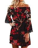 YOINS Femme Robe D'ete Sexy Mini Robe Epaules Nus Robe Courte Imprime Florale Dress Robe De Printemps Manches Longues, Noir-imprime 01, M (EU 40-42)