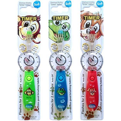 B-Brite Club Cutie Handzahnbürste mit blinkendem Timer für Kinder, 3 Stück