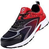 Zapatos de Seguridad Hombre Ligero Respirable Zapatos de Seguridad con Punta de Acero Anti-Piercing Antideslizante Antiestático Calzado de Seguridad Deportivo(Rojo Negro,45)
