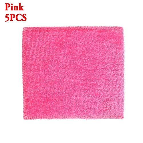 ZZLLFF 5PCS / Packung Geschenke Hoch effiziente Anti-Fett Spültuch Bambusfaser Geschirrtuch Magic Kitchen Topfreiniger Reinigung Putzlappen (Color : Pink)