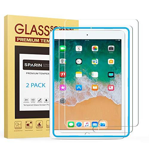 [2-Pack] SPARIN Protector Pantalla iPad Pro 9.7 Pulgadas, iPad 9.7 Pulgadas 2017/2018, iPad Air, iPad Air 2, Cristal Templado [9H Dureza] [Resistente a Arañazos] [Sin Burbujas]