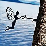 Ylight Hada Silueta de Metal Escultura Jardín Silueta de Arte,decoración de Patio de jardín,Exquisito Adorno de árbol para el hogar,Patio,césped,Letrero,Fiesta decoración