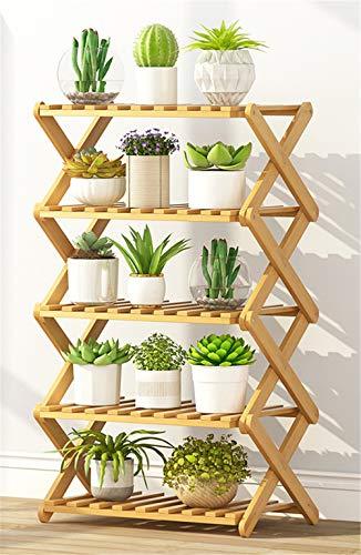 JHKGY Opvouwbare Bamboe Schoenrek Plant Stand Bloemenplank Houder 5 Tier Pot Planken Bonsai Display Opslagrek Buiten Binnen Tuin Patio voor Meerdere Planten