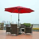 DNNAL Regenschirm im Freien mit Wassertankbasis, Große Hand Kurbel Sun Regenschirm Strand Side Regenschirm Für Villa Szenische Strand Schwimmbad,Rot