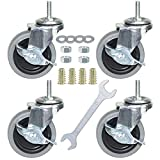 DICASAL Stem Casters Heavy Duty and Highly-Elastic TPR Wheels Mute Castors with Side Brakes Pack of 4 (3 Inch 5/16-18x1 inch)