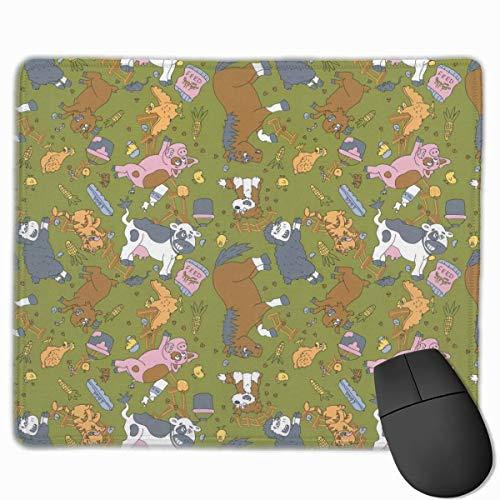 Farm Square Tiere füttern rutschfeste personalisierte Designs Gaming Mouse Pad Schwarzes Stoff Rechteck Mousepad Art Naturkautschuk Mausmatte mit genähten Kanten