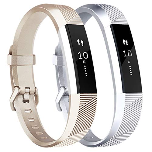Tobfit Waterproof Sport Bands Compatible with Fit bit Alta/Alta HR/Ace, Soft TPU Replacement Wristbands, Large, Champagne Gold/Silver