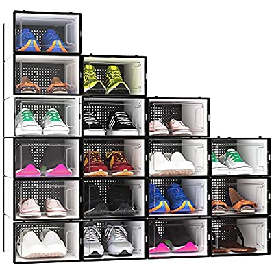 YITAHOME Shoe Storage Box, Set of 18 Small Size Shoe Storage Organizers Stackable Clear Shoe Storage Box Rack Clear Drawer