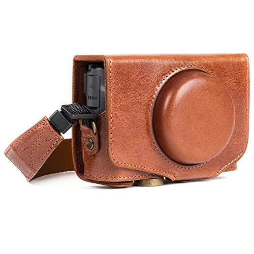 MegaGear MG1177 Canon PowerShot SX740 HS, SX730 HS Ever Ready, Estuche, Funda de Pronto Uso de Cuero auténtico, con Correa, Marron Oscuro