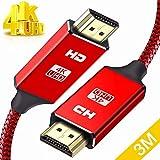 HDMIケーブル ハイスピード3m HDMI CABLE 18Gbps/HDR/3D/4K 60hz 最新 HDMI規格 Ver2.0 HDMI-HDMIケーブル スリム