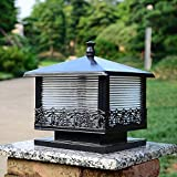 Luz, al Aire Libre Retro Columna Luz Linterna de Vidrio Tradicional China Césped Lámpara de Columna Impermeable Luz de Mesa Villa de Aluminio Vista al jardín Césped Lámpara de jardín Farola