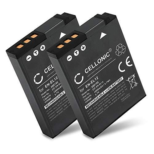 CELLONIC® 2X Batería de Repuesto EN-EL12 per Nikon CoolPix A1000 A900 W300 S9900 S9700 S9500 S9300 S9100 S8200 S6300 S6200 S31 AW130, 1000mAh, Accu Sustitución Camara, Battery