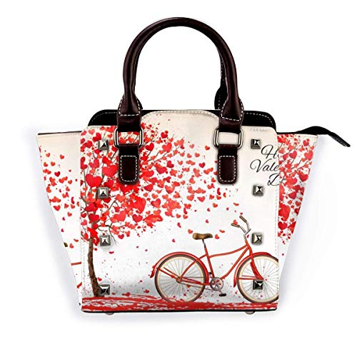Rivet Shoulder Bag s Day Couple Tree Bicycle Heart Fashion Studded Tote Bag for Women PU Leather Rivet Shoulder Bag Crossbody Purse