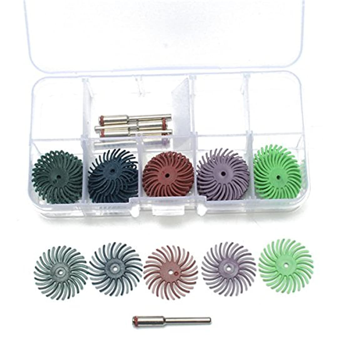 WCHAOEN 30pcs 25mm Radial Bristle Disc Brushes 80-1000 Grit with 5pcs Mandrel Rotary Adapter Accessories Tool