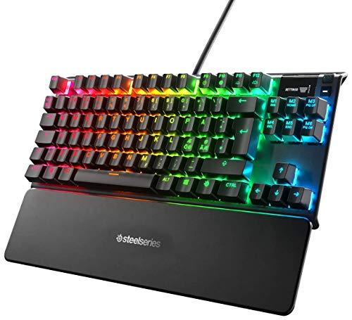 SteelSeries Apex 7 TKL – Clavier de Gaming Mécanique – Forme Compacte – Écran OLED Display – Switchs Rouges – Agencement Nordique QWERTY