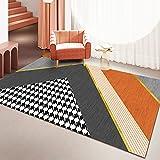 Alfombra Rectangular Geométrica Simple para Sala De Estar, Sofá Nórdico Y Mesa De Centro, Alfombra De Cabecera De Dormitorio Completo De Gran Área
