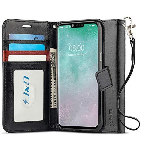 JundD Kompatibel für LG G8 ThinQ/LG G8 Hülle, [Handytasche mit Standfuß] [Slim Fit] Robust Stoßfest Aufklappbar Tasche Hülle für LG G8 ThinQ, LG G8 - [Nicht kompatibel mit LG G8S ThinQ] - Schwarz