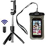 Selfie Stick Tripod with Wireless Bluetooth Remote. Includes Bonus Waterproof Case. Selfie Stick