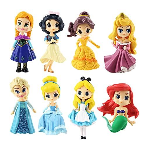 8 Piezas 6-9 Cm Princesa Blancanieves Belle Cenicienta Sirena Alice Bella Durmiente Frozen Elsa Anna PVC Figura De Acción Modelo Juguetes Muñecas