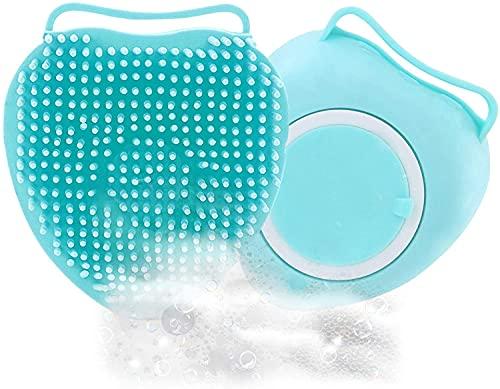 Monnstar Cepillo de baño de silicona, cepillo de baño para bebés y adultos, herramienta exfoliante para el baño (4 azules)