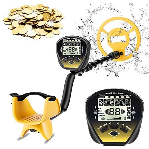 Detector de Metales, 5 Modo de búsqueda, LCD Retroiluminación, de Alta Precisión Detector Metales, Bobina de Búsqueda Impermeable de 25,4 cm, Ajuste de Altitud, con Pala Plegable