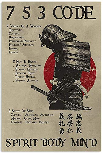 Generic Samurai Poster - 7 Virtues of A Warrior 5 Keys to Health 3 States of Mind Poster, Size 85, Color 85