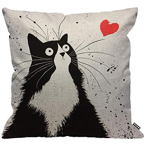 HGOD DESIGNS Housses de Coussin Chat Noir Chat avec Amour Coeur Taies d'oreillers Maison Décoration...