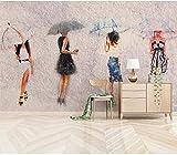 Papel Tapiz Mural 3D Papel Tapiz De Sala De Estar Pintura 3D Pintura Al Óleo Retrato Paraguas Tv Fondo Papel De Pared Mural 3D-350X245Cm,Paño De Seda
