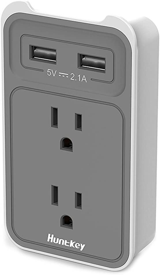 Huntkey 2-Outlet Wall Mount Cradle with Dual 2.1 AMP USB Charging Ports, SMD407