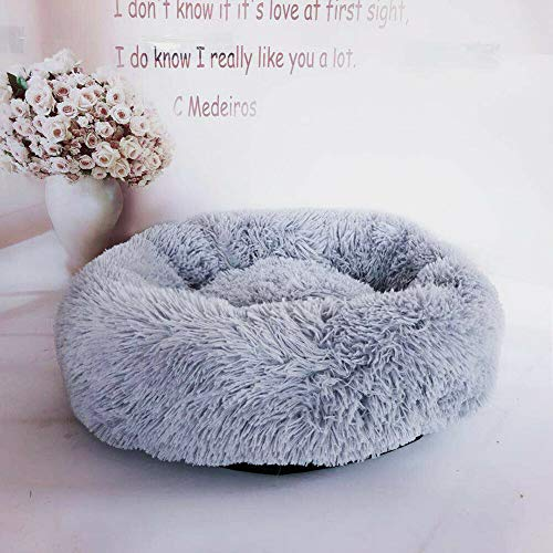XIAJIE Pet Bed, Fluffy Luxe Soft Plush Round Cat and Dog Bed, Donut Cat and Dog Cushion Bed, Self-Warming and Improved Sleep, Orthopedic Relief Shag Faux Fur Bed Cushion (Light Gray, 50)