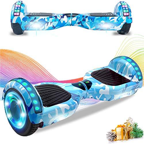 HST Self Balance Board, Elektro Skateboard Elektroroller, Smart Self- Balancing Scooter Räder mit LED-Licht, Motor 350W*2 Bluetooth für Kinder und Erwachsene Tarnblau