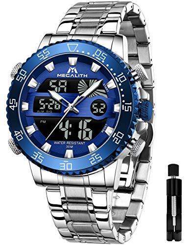MEGALITH Relojes Hombre Reloj Militar Digital Deportivos Cronógrafo Acero Inoxidable LED Impermeable Reloj De Pulsera Plata Grande Esfera Relojes Analógicos Digitales Alarma Fecha
