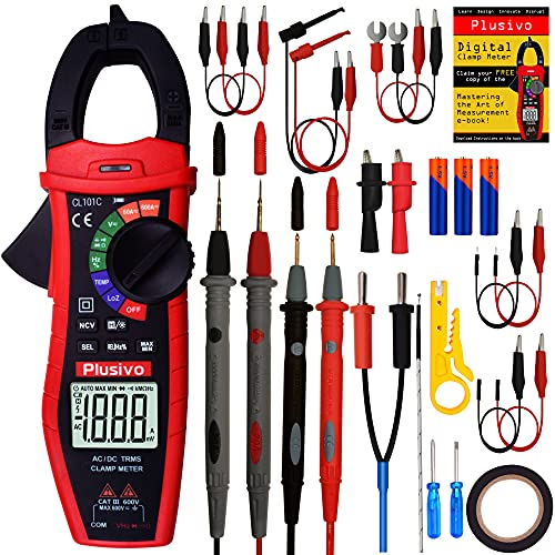 Digital Clamp Meter T-RMS 6000 Counts, Multimeter, Non Contact Voltage Test Auto-ranging, Measures Current Voltage, Capacitance, Resistance Diode Continuity (AC DC Current Clamp Meter) from Plusivo