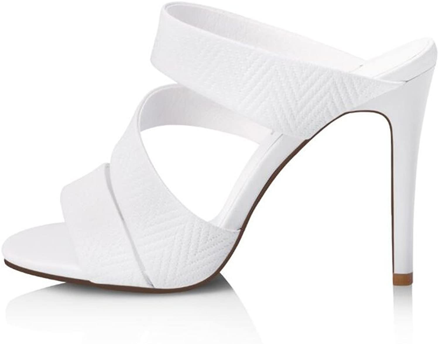 CJC High-Heeled Sandals Baotou High Heels Thin High Heels Stiletto Heels Sandals Sexy Fashion Elegant (color   White, Size   EU35 UK3)