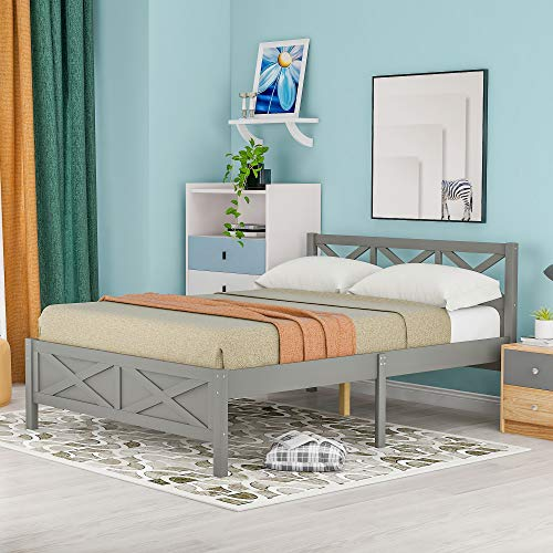 Merax Queen Bed Frame with Headborad, Queen Size Wood Platform Bed Frame, 460 lbs Weight Limits,Grey
