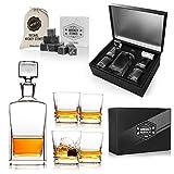 Hediyesepeti Set de Regalo de Whisky con decantador y Vasos de Whisky Hechos a Mano y Regalo de Piedras escalofriantes para Padre