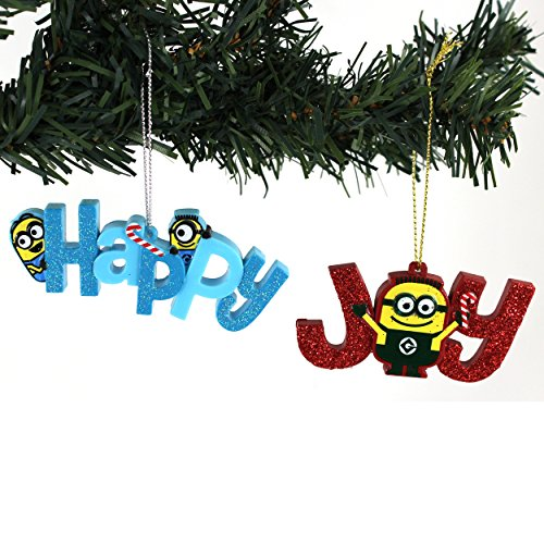 Universal Studios Despicable Me Minions Kurt Adler Ornaments Set Gift Boxed (Happy & Joy)
