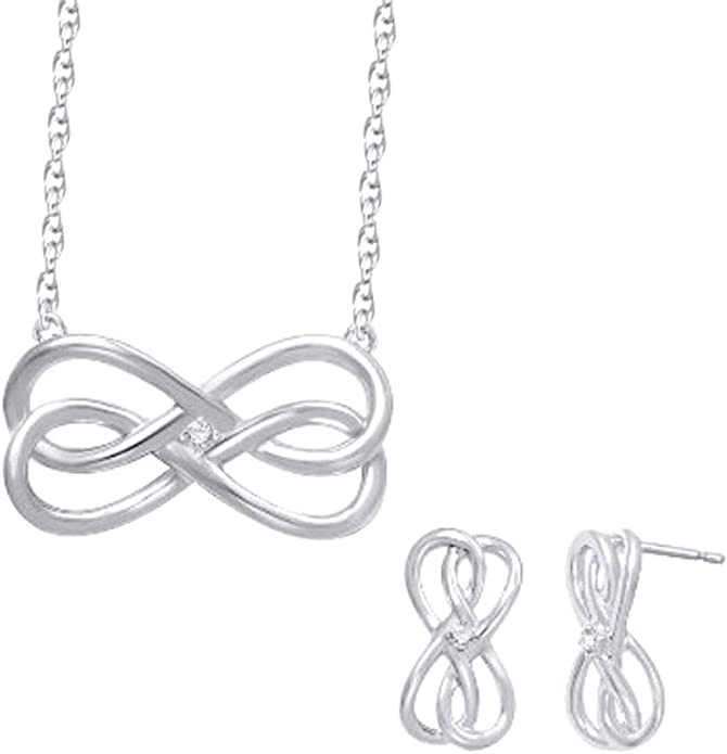 Details about  /Infinity Pendant Set With Stud Earrings Diamond Wedding Pendant Set Gift For Her