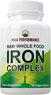 Raw Whole Food Iron Complex Vegan Supplement for Women and Men. Best USA Sourced Iron + Vitamins C, B12, and 25+ Organic V...