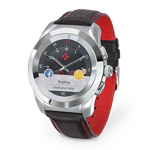 MyKronoz ZeTime Premium hybride Smartwatch 44mm mit mechanischen Zeigern über einen runden Farbtouchscreen – Regular Glänzend Silbern / Schwarz Carbon Rot Ziernaht