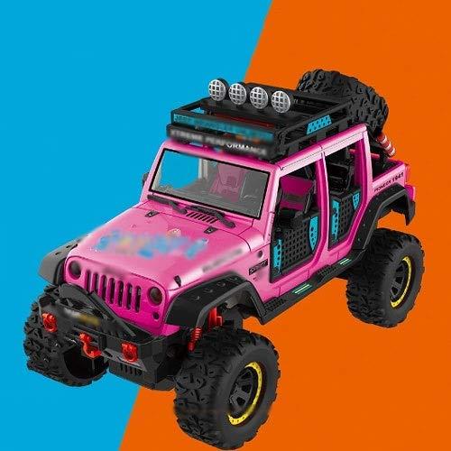 Xolye 4-Rad-Klettern Auto Geländewagen Modell 3 Farben erhältlich Alloy Pull Back Kinder Metall-Spielzeug-Auto-Geschenk-Boy Ton und Licht-Musik-Spielzeug-Auto (Color : Rosa)