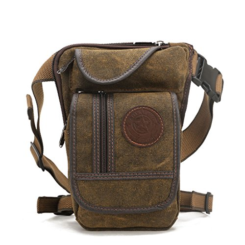 Hebetag Drop Leg Bag Canvas Thigh Pouch for Men Women Tactical Military Motorcycle Bike Cycling Multi-pocket Waist Fanny Pack Travel Hiking Climbing Outdoor Pocket Coffee