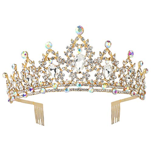 Sppry Women Tiara with Comb - Colorful AB Crystals Crown for Bridal Princess Girls at Wedding Birthday Pageant (Gold)